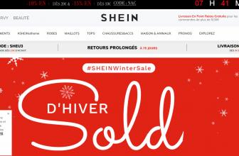 Page d'accueil de la boutique de Shein